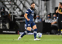 LAKE BUENA VISTA, FL - AUGUST 01: Maxime Chanot #4 of New York City FC plays the ball back during a game between Portland Timbers and New York City FC at ESPN Wide World of Sports on August 01, 2020 in Lake Buena Vista, Florida.