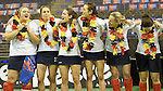 Berlin, Germany, February 01: During the prize giving ceremony for the Deutsche Meister Duesseldorfer HC of 1. Bundesliga Frauen Hallensaison 2014/15 February 1, 2015 at the Final Four tournament at Max-Schmeling-Halle in Berlin, Germany. (Photo by Dirk Markgraf / www.265-images.com) *** Local caption ***