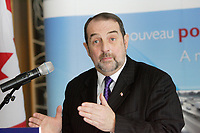Denis Lebel, Minister of Infrastructure, Communities and Intergovernmental Affairs and Minister of the Economic Development Agency of Canada for the Regions of Quebec<br /> adress the medias January 22, 2012 about the new bridge for Saint-Lawrence river.<br /> <br /> File  Photo : Agence Quebec Presse  - Pierre Roussel