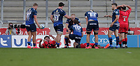9th September 2020; AJ Bell Stadium, Salford, Lancashire, England; English Premiership Rugby, Sale Sharks versus Saracens;  Simon Hammersley of Sale Sharks scores their third try in the first half to make the score 21-7