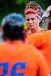 BERLIN, GERMANY - JUNE 22: Quarterfinal between Team Prolaxshop (orange) vs Jizni Mesto (white) during the Berlin Open Lacrosse Tournament 2013 at Stadion Lichterfelde on June 22, 2013 in Berlin, Germany. Final score 8-6. (Photo by Dirk Markgraf/www.265-images.com)