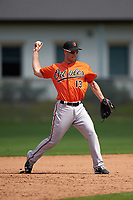 Baltimore Orioles Drew Dosch (13) during a minor league Spring Training game against the Minnesota Twins on March 16, 2016 at CenturyLink Sports Complex in Fort Myers, Florida.  (Mike Janes/Four Seam Images)