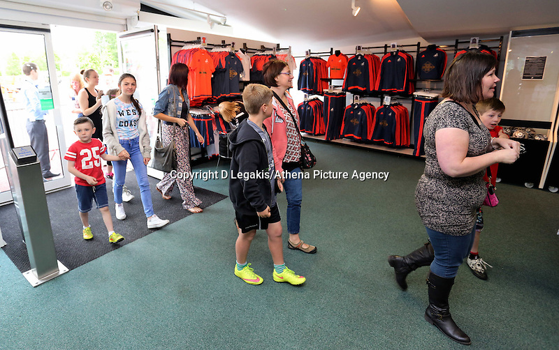 Saturday, 06 June 2015<br /> Pictured: Shoppers enter the club shop after the doors open<br /> Re: Swansea City FC new home kit launch at the club shop of the Liberty Stadium, south Wales, UK.