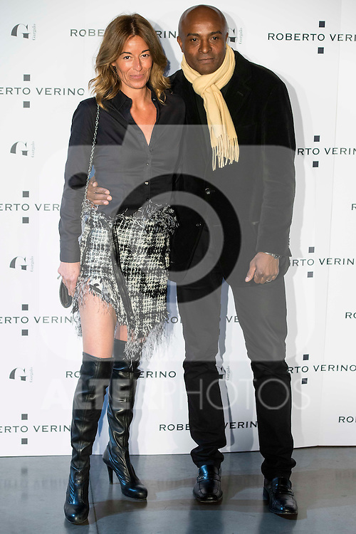 "Monica Martin Luque and her boyfriend during the presentation of the new Spring-Summer collection ""Un Balcon al Mar"" of Roberto Verino at Platea in Madrid. March 16, 2016. (ALTERPHOTOS/Borja B.Hojas)"