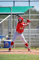 GCL Cardinals left fielder Diomedes Del Rio (44) at bat during a game against the GCL Mets on August 6, 2018 at Roger Dean Chevrolet Stadium in Jupiter, Florida.  GCL Cardinals defeated GCL Mets 6-3.  (Mike Janes/Four Seam Images)