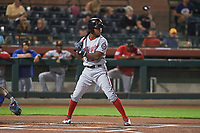 Mesa Solar Sox center fielder Victor Robles (14), of the Washington Nationals organization, at bat during an Arizona Fall League game against the Scottsdale Scorpions on October 23, 2017 at Scottsdale Stadium in Scottsdale, Arizona. The Solar Sox defeated the Scorpions 5-2. (Zachary Lucy/Four Seam Images)