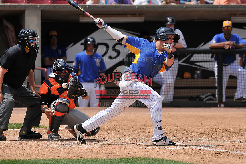 Wisconsin Timber Rattlers second baseman Tucker Neuhaus (19) swings during a game against the Quad Cities River Bandits at Fox Cities Stadium on June 27, 2017 in Appleton, Wisconsin.  Wisconsin lost 6-5.  (Dennis Hubbard/Four Seam Images)
