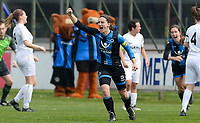 20180414 - AALTER , BELGIUM : Brugge's Barbara Lezy pictured celebrating her goal and Brugge's lead during the 21st matchday in the 2e Nationale Women's league , a womensoccer game between Club Brugge Dames and GFA Sinaai , in Aalter , saturday 15 th April 2018 . PHOTO SPORTPIX.BE   DAVID CATRY