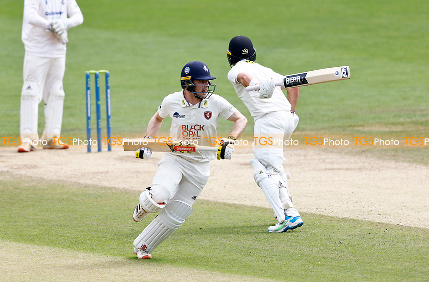 Marcus O'Riordan of Kent narrowly avoids Harry Finch and is run out by Tom Haines during Kent CCC vs Sussex CCC, LV Insurance County Championship Group 3 Cricket at The Spitfire Ground on 14th July 2021