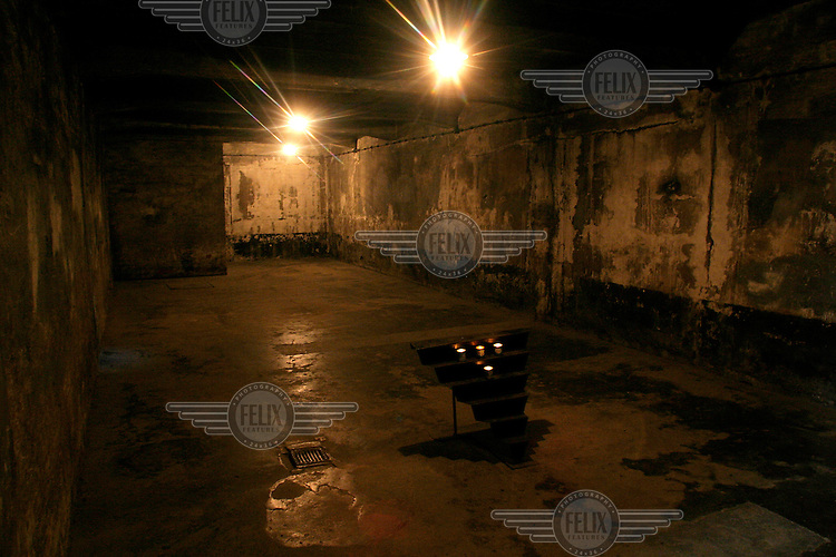 Gas chamber at the Auschwitz Nazi concentration camp. It is estimated that between 1.1 and 1.5 million Jews, Poles, gypsies and others were killed here in the Holocaust between 1940-1945.