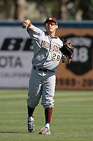 Trever Allen #28 of the Arizona State Sun Devils makes a throw against the Long Beach State Dirtbags at Blair Field on March 11, 2012 in Long Beach,California. Arizona State defeated Long Beach State 6-1.(Larry Goren/Four Seam Images)