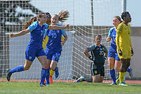 20190306 - PARALIMNI , CYPRUS : Finnish defender Katarina Naumanen scored and celebrated pictured during a women's soccer game between Finland and South Africa , on Wednesday 6 March 2019 at the Tassos Markou Stadium in Paralimni , Cyprus.  This last game for both teams which decides for places 9 and 10 of the Cyprus Womens Cup 2019 , a prestigious women soccer tournament as a preparation on the Uefa Women's Euro 2021 qualification duels.PHOTO SPORTPIX.BE | STIJN AUDOOREN