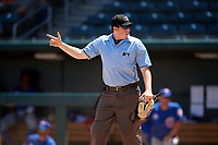 Umpire Austin Jones during a Southern League game between the Tennessee Smokies and Jacksonville Jumbo Shrimp on April 29, 2019 at the Baseball Grounds of Jacksonville in Jacksonville, Florida.  Tennessee defeated Jacksonville 4-1.  (Mike Janes/Four Seam Images)