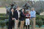 Jockey Ricardo Santana, Jr., trainer Steven Asmussen and owners of Tapiture accepting the Southwest trophy after winning at Oaklawn Park in Hot Springs, Arkansas on February 17, 2014. (Credit Image: © Justin Manning/Eclipse/ZUMAPRESS.com)