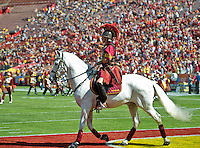 LOS ANGELES, CA - September 22, 2012:  The USC mascot Traveler prior to the USC Trojans vs the Cal Bears at the Los Angeles Memorial Coliseum in Los Angeles, CA. Final score USC 27, Cal 9..