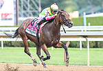 August 07, 2021: Bella Sofia, #8, ridden by jockey Luis Saez wins the Test Stakes (Grade 1) for three-year-old fillies at Saratoga Race Course in Saratoga Springs, N.Y. on August 7, 2021. Rob Simmons/Eclipse Sportswire/CSM