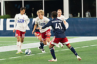 FOXBOROUGH, MA - OCTOBER 16: Thomas Roberts #23 of North Texas SC prepares to clear the ball near the North Texas goal during a game between North Texas SC and New England Revolution II at Gillette Stadium on October 16, 2020 in Foxborough, Massachusetts.