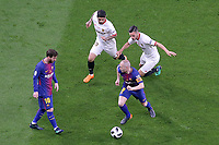 Sevilla FC's Ever Banega (t-l) and Pablo Sarabia (t-r) and FC Barcelona's Leo Messi (l) and Andres Iniesta during Spanish King's Cup Final match. April 21,2018. (ALTERPHOTOS/Acero)