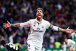 Sergio Ramos of Real Madrid celebrates after scoring a goal during the match of Spanish La Liga between Real Madrid and Real Betis at  Santiago Bernabeu Stadium in Madrid, Spain. March 12, 2017. (ALTERPHOTOS / Rodrigo Jimenez)