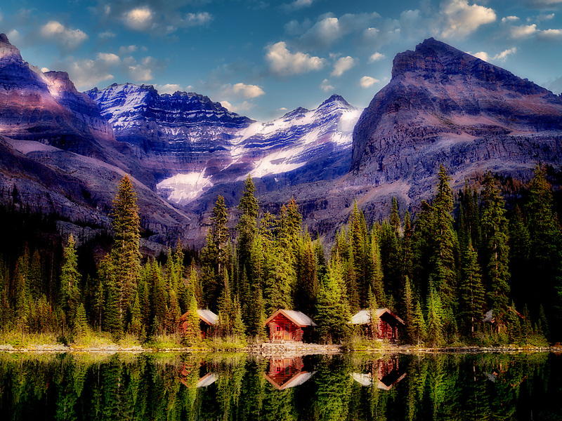Cabins at Lake O'hara. Yoho National Park, Opabin Plateau, British Columbia, Canada