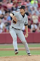 Starting pitcher Jack Wynkoop (13) of the South Carolina Gamecocks in an NCAA Division I Baseball Regional Tournament game against the Maryland Terrapins on Saturday, May 31, 2014, at Carolina Stadium in Columbia, South Carolina. Maryland won, 4-3. (Tom Priddy/Four Seam Images)