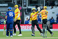 Tom Moores, Trent Rockets celebrates the dismissal of Josh Inglis, London Spirit during London Spirit Men vs Trent Rockets Men, The Hundred Cricket at Lord's Cricket Ground on 29th July 2021