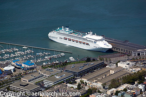 aerial photograph Carnival cruise ship docked at Pier 35 near Pier 39 and Fisherman's wharf San Francisco California