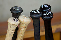Baseball bats in the Winston-Salem Dash dugout prior to the game against the Carolina Mudcats at BB&T Ballpark on April 13, 2013 in Winston-Salem, North Carolina.  The Dash defeated the Mudcats 4-1.  (Brian Westerholt/Four Seam Images)