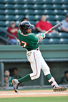Right fielder John Norwood (27) of the Greensboro Grasshoppers bats in a game against the Greenville Drive on Wednesday, August 26, 2015, at Fluor Field at the West End in Greenville, South Carolina. Greenville won, 7-0.  (Tom Priddy/Four Seam Images)