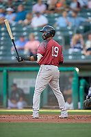 Abiatal Avelino (19) of the Sacramento River Cats at bat against the Salt Lake Bees at Smith's Ballpark on July 18, 2019 in Salt Lake City, Utah. The Bees defeated the River Cats 9-6. (Stephen Smith/Four Seam Images)
