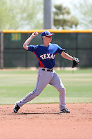 Nick Urbanus #63 of the Texas Rangers plays in an extended spring training game against the Los Angeles Dodgers at the Rangers minor league complex on May 7, 2011  in Surprise, Arizona. Urbanus, a native of the Netherlands, signed a contract with the Rangers in November of 2010..Photo by:  Bill Mitchell/Four Seam Images.