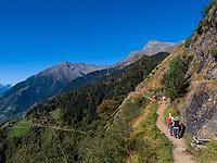 Wanderer, Meraner Höhenweg, Algund bei Meran, Region Südtirol-Bozen, Italien, Europa<br /> Hiker, Merano High Route,  Lagundo near Merano, Region South Tyrol-Bolzano, Italy, Europe