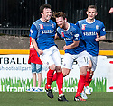 Cowdenbeath's Calum Gallagher (11) is congratulated by Chris Kane (12) after he scores their third goal.