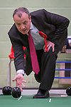© Joel Goodman - 07973 332324 . 27/01/2014 . Manchester , UK . Mike Kane bowling in the gym at the launch of Mike Kane's campaign for the Wythenshawe East and Sale by-election at the Woodhouse Park Lifestyle Centre in Wythenshawe , today (27th January 2014) . Photo credit : Joel Goodman