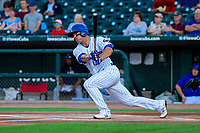 Iowa Cubs outfielder John Andreoli (7) swings at a pitch during game two of a Pacific Coast League doubleheader against the Colorado Springs Sky Sox on August 17, 2017 at Principal Park in Des Moines, Iowa. Iowa defeated Colorado Springs 6-0. (Brad Krause/Four Seam Images)