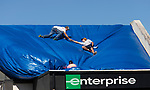 MARIANNA, FL - OCTOBER 13: Workers tarp a roof in Marianna that was heavily damaged by Hurricane Michael on October 13, 2018 in Marianna, Florida. (Photo by Mark Wallheiser/Getty Images)