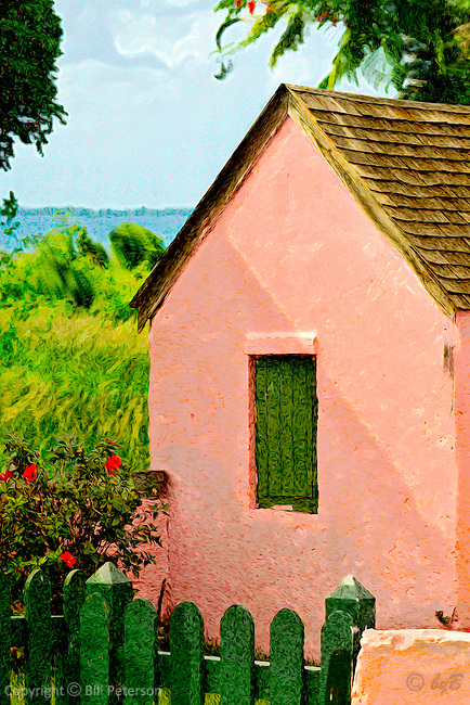 Standing in the two o'clock shade looking across remembered glimpses to the waters edge. From an Island walk in summer heat.  Comfortable in matte finish, Abaco Pink in an archival Fuji Matte Luster, Entrada Rag  or canvas/canvas wrap cheers a wall with warmth.   <br /> Close up of Abaco Pink detail: http://www.petersongallery.com/image/I0000BR4esf9Uy7g