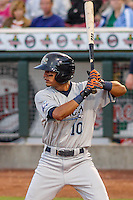West Michigan Whitecaps infielder David Gonzalez (10) at bat during game five of the Midwest League Championship Series against the Cedar Rapids Kernels on September 21st, 2015 at Perfect Game Field at Veterans Memorial Stadium in Cedar Rapids, Iowa.  West Michigan defeated Cedar Rapids 3-2 to win the Midwest League Championship. (Brad Krause/Four Seam Images)