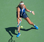 Victoria Azarenka (BLR) loses to Ekaterina Makarova (RUS) 6-4, 6-2 at the US Open being played at USTA Billie Jean King National Tennis Center in Flushing, NY on September 3, 2014