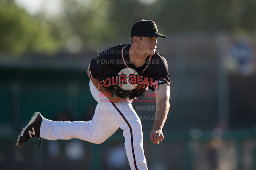 Modesto Nuts relief pitcher Colin Rodgers (45) follows through on his delivery during a California League game against the San Jose Giants at John Thurman Field on May 9, 2018 in Modesto, California. San Jose defeated Modesto 9-5. (Zachary Lucy/Four Seam Images)