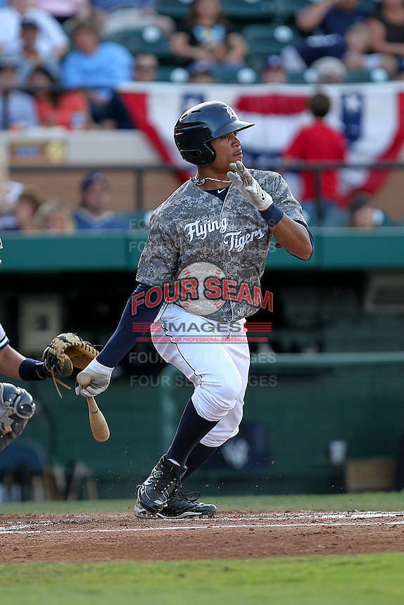 May 15, 2010 Outfielder Daniel Fields of the Lakeland Flying Tigers during a game vs. the Tampa Yankees at Joker Marchant Stadium in Lakeland, Florida. Lakeland wore camouflage jerseys for Military Night. Photo By Mark LoMoglio/Four Seam Images