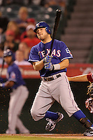 Texas Rangers second baseman Ian Kinsler #5 bats against the Los Angeles Angels at Angel Stadium on September 27, 2011 in Anaheim,California. Texas defeated Los Angeles 10-3.(Larry Goren/Four Seam Images)
