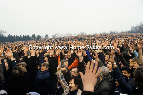 Longbridge, Birmingham. 1980<br /> At Crofton Park car factory workers vote, with a sea of hands and overwhelmingly defeat by 14,000 to just 600 the motion of support for Derek 'Red Robbo' Robinson a union leader at British Leyland who was credited with causing 523 strikes between 1978 and 1979. Mrs Thatcher had called him a 'notorious agitator', the age of 'Red Robbo' as a political and industrial force was over.