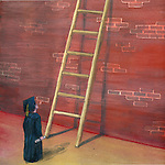 Illustration of person in graduation gown looking at ladder