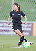 Homare Sawa #10 of the Washington Freedom during a WPS match against the Boston Breakers at the Maryland Soccerplex, in Boyd's, Maryland, on April 18 2009. Breakers won the match 3-1.