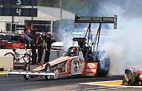 Aug. 18, 2013; Brainerd, MN, USA: NHRA top fuel dragster driver Clay Millican during the Lucas Oil Nationals at Brainerd International Raceway. Mandatory Credit: Mark J. Rebilas-