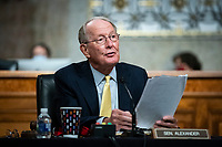 United States Senator Lamar Alexander (Republican of Tennessee), chairman, US Senate Health, Education, Labor and Pensions Committee, speaks during a hearing in Washington, D.C., U.S., on Tuesday, June 30, 2020. Top federal health officials are expected to discuss efforts to get back to work and school during the coronavirus pandemic. <br /> Credit: Al Drago/CNP/AdMedia