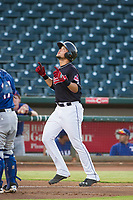 AZL Indians third baseman Henry Pujols (28) celebrates after hitting a home run against the AZL Rangers on August 26, 2017 at Goodyear Ball Park in Goodyear, Arizona. AZL Indians defeated the AZL Rangers 5-3. (Zachary Lucy/Four Seam Images)