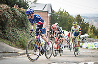 breakaway group led by US champion Alex Howes (USA/EF Education - Nippo) up the infamous Mur de Huy<br /> <br /> 85th La Flèche Wallonne 2021 (1.UWT)<br /> 1 day race from Charleroi to the Mur de Huy (BEL): 194km<br /> <br /> ©kramon