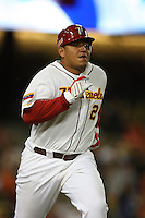 Miguel Cabrera of Venezuela during a game against Korea at the World Baseball Classic at Dodger Stadium on March 21, 2009 in Los Angeles, California. (Larry Goren/Four Seam Images)